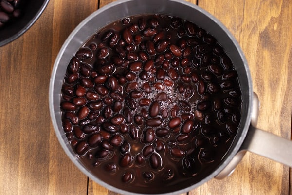 cooked black beans in a pot