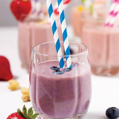 smoothie made with blueberries, strawberries, and bananas