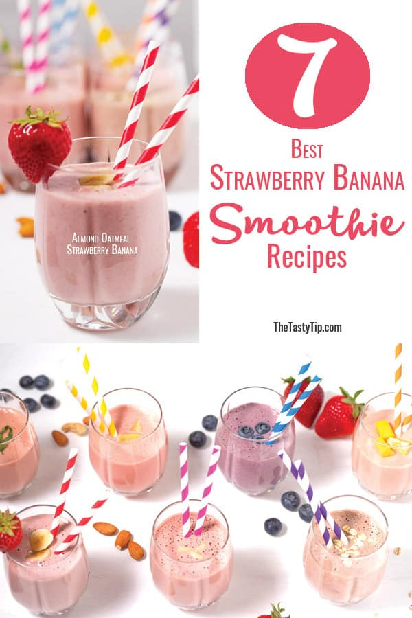 glasses of strawberry banana smoothies