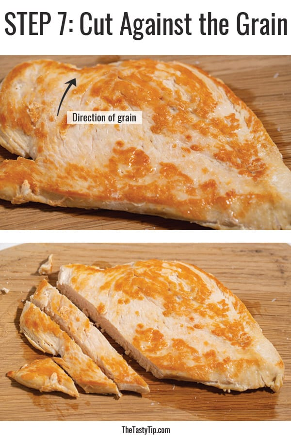 the direction of the grain in cooked chicken breast