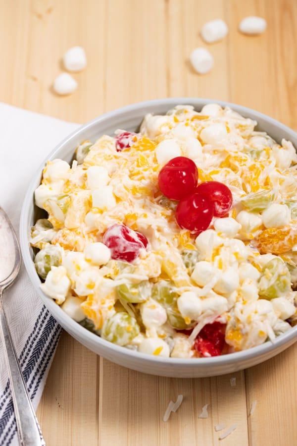 ambrosia salad with cherries on top