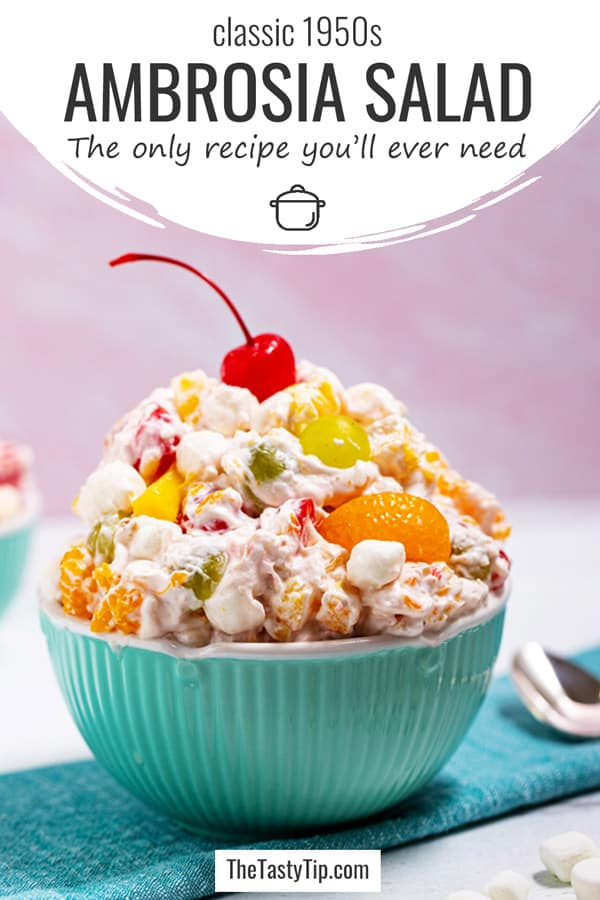 1950s ambrosia salad in a bowl with cherry on top