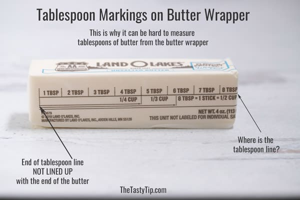 tablespoon line not lined up on cube of butter