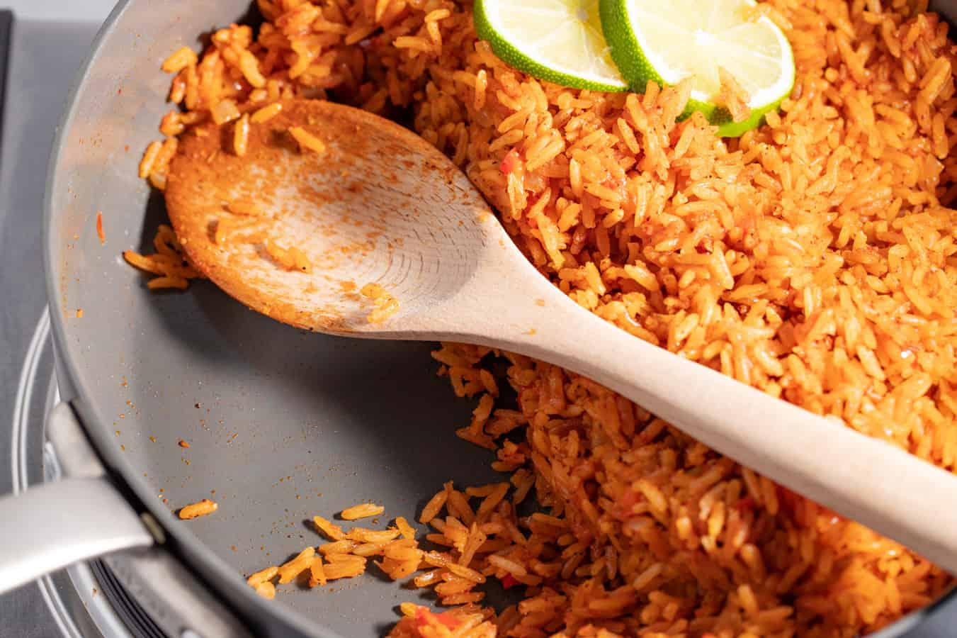 skillet with cooked seasoned rice not sticking to the pan