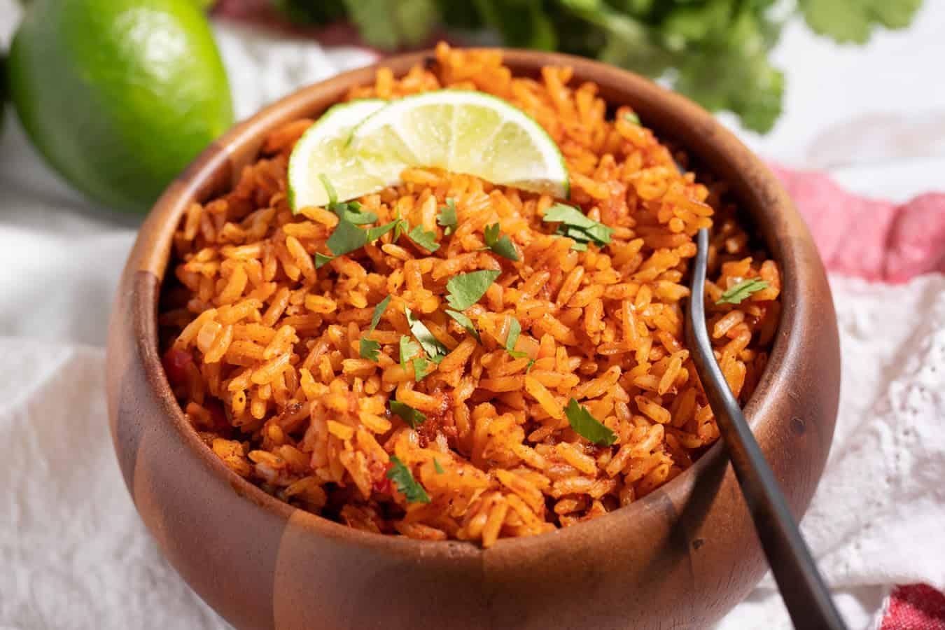 fork in bowl of fresh Taco Bell seasoned rice