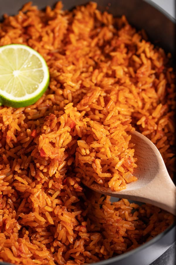 skillet with Taco Bell seasoned rice recipe