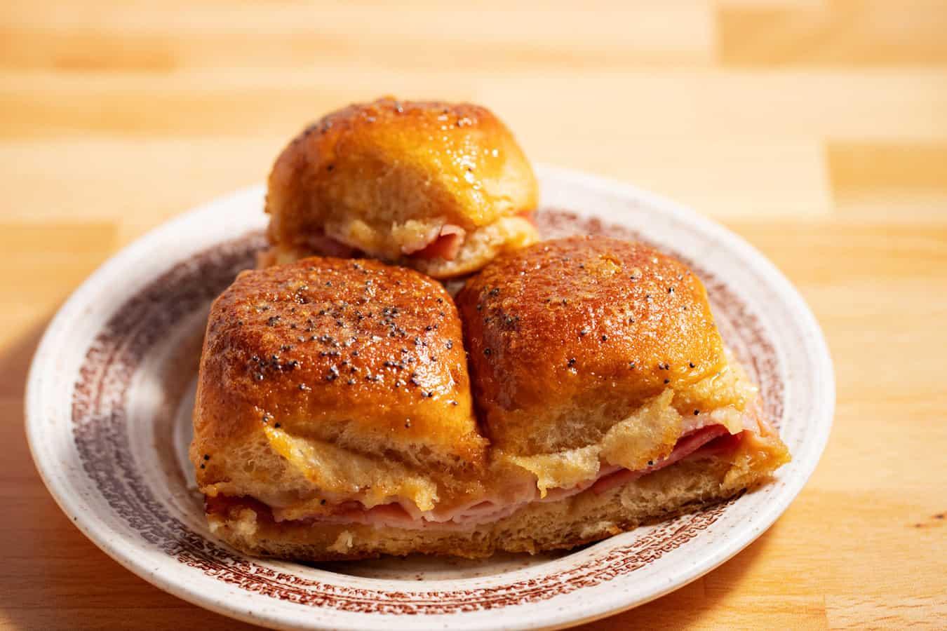 3 ham and cheese sliders