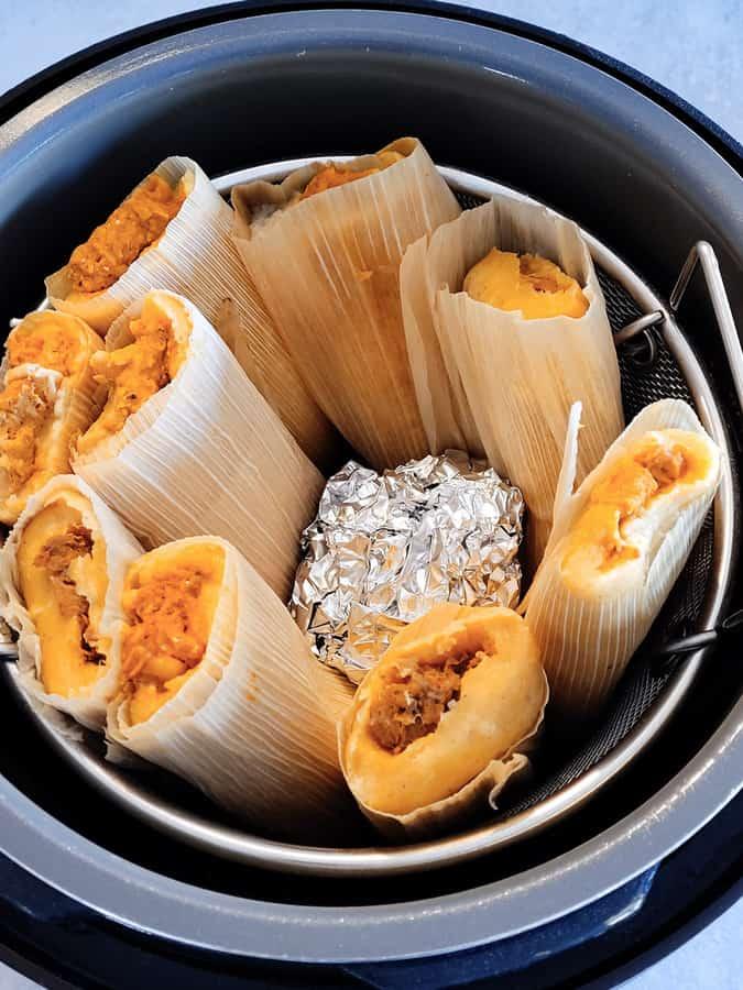 frozen tamales cooking in instant pot