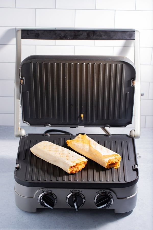 frozen tamales cooked in panini grill