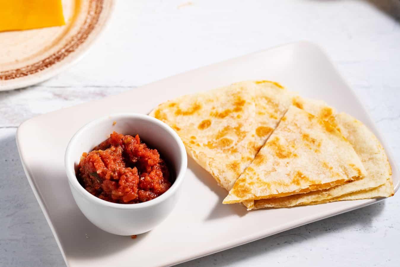 quesadilla and salsa