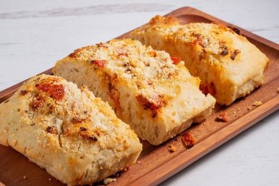 focaccia bread cut into 3 sections