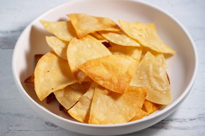 bowl of homemade corn tortilla chips
