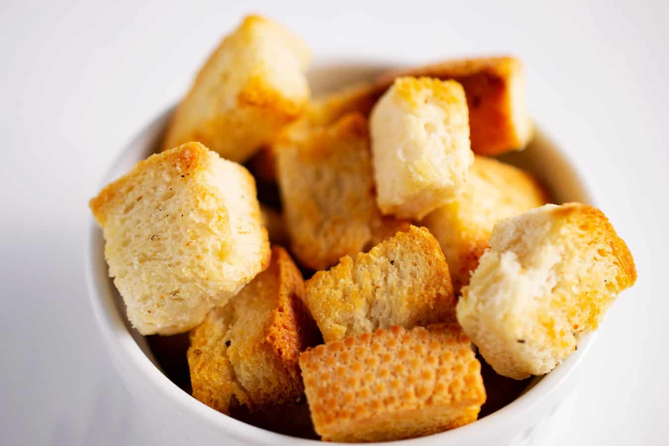bowl of homemade croutons