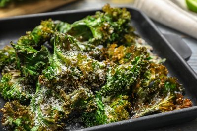 pan of homemade kale chips