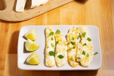 grilled panela cheese slices with lime quarters