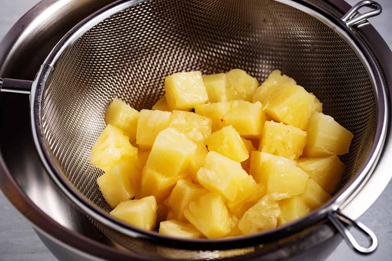 pineapple draining in colander