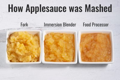 3 bowls showing difference in how applesauce was mashed