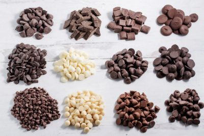 1-ounce piles of mini, unsweetened cacao, morsel, white chocolate, jumbo, chunk, and wafer chocolate chips