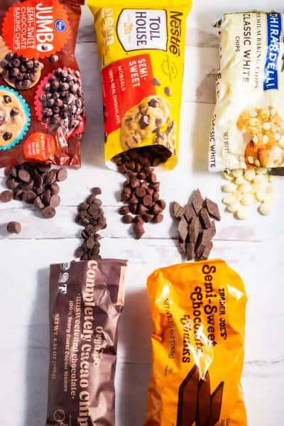 bags of different brands of chocolate chips
