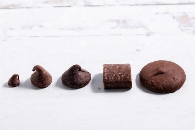 line of chocolate from smallest mini chip to wafer