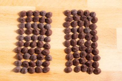 rows of chocolate chips lined up