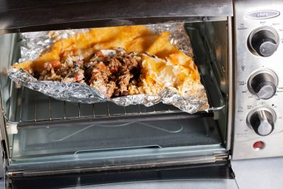 unrolled burrito in toaster oven to reheat