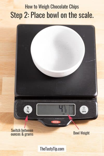 empty bowl on kitchen scale