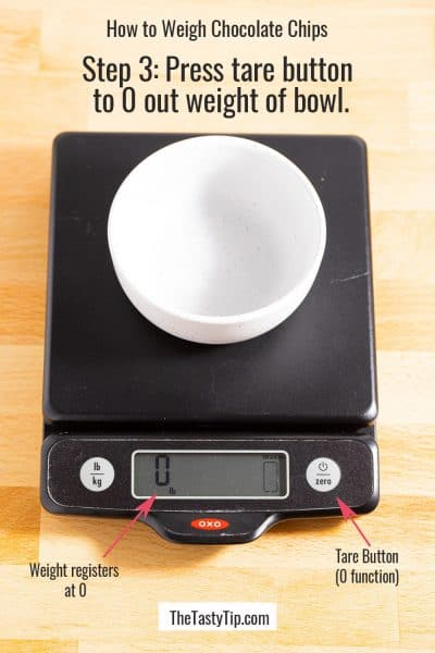 empty bowl on kitchen scale with weigh zeroed out