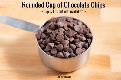 rounded cup of chocolate chips