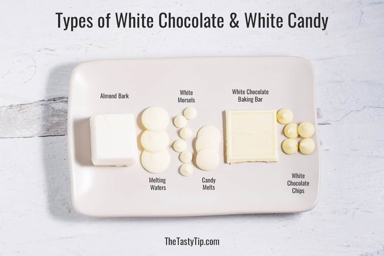 plate with different types of white chocolate and white candies